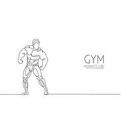 One continuous line drawing young strong model vector