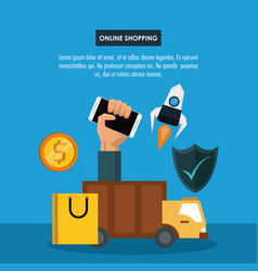 online shopping infographic vector image