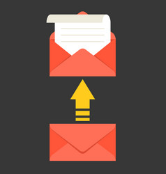 Open envelope and message with arrow vector