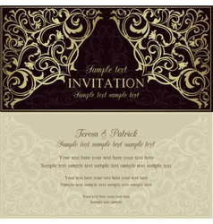 Orient invitation dark brown and beige vector image