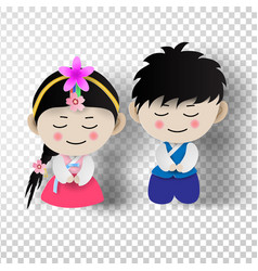 paper art of korean traditional boy and girl vector image