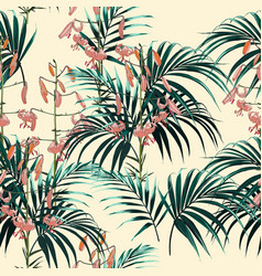 pattern orange lilies flowers and green palm vector image