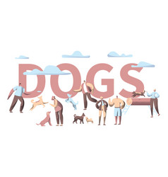 Pet dog banner animal with people character vector