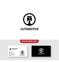 Piston automotive logo and business card template vector