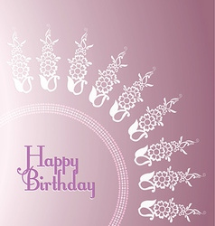 Purple Floral Birthday card templates vector
