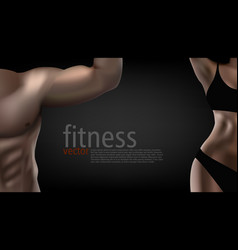 realistic male female fitness club poster template vector image