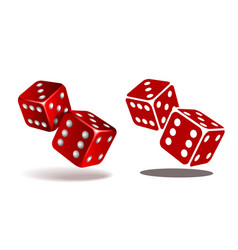 Red dice with white pips on the white background vector