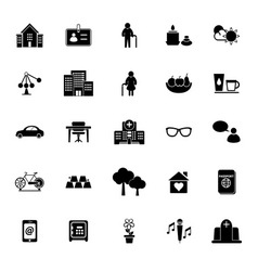 Retirement community icons on white background vector