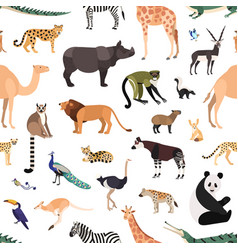 seamless pattern with exotic animals and birds vector image