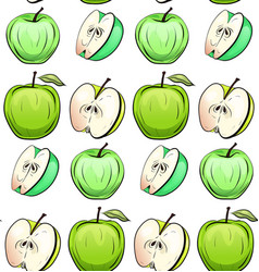 seamless texture of cartoon green apples of vector image