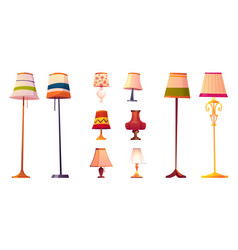 Set cartoon lamps floor and table torcheres vector
