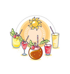 Set cocktails fruits tropical sun vector