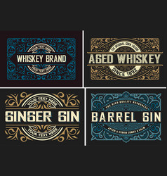 set of 4 vintage labels ready for packing vector image
