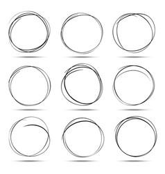 set of 9 hand drawn scribble circles vector image vector image