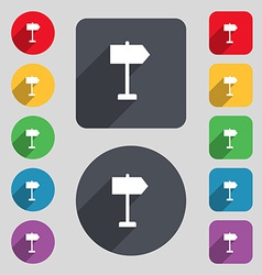Signpost icon sign A set of 12 colored buttons and vector