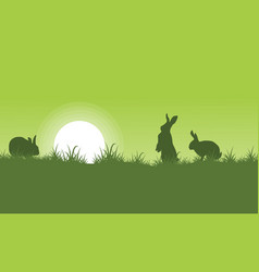 Silhouette of rabbit on green backgrounds vector