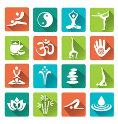 Spa yoga icons long shadows vector