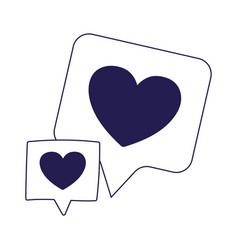 Speech bubbles love hearts romantic on white vector