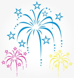 Stylized fireworks blue pink and yellow vector