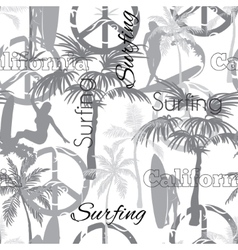Surfing California Grayscale Seamless vector image