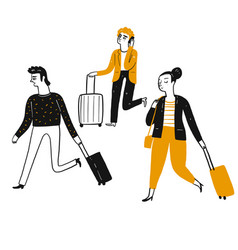 tourists pulling suitcases vector image