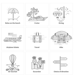 Traveling Vacation Journey Icons vector