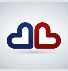 two blue and red hearts love icon isolated on vector image