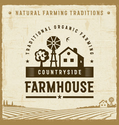 Vintage countryside farmhouse label vector