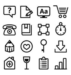 Web menu navigation line icons set - stroke style vector image
