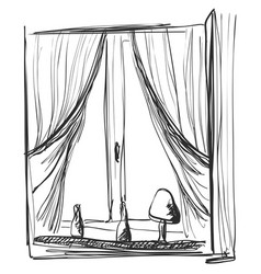 Window and curtains sketch interior vector