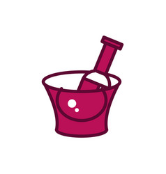 wine bottle ice bucket celebration drink beverage vector image