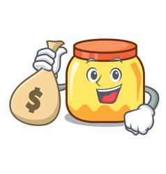 With money bag cream jar character cartoon vector