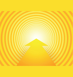 yellow circular background with arrow vector image
