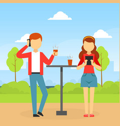 young man and woman using smartphones while vector image