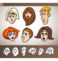 cartoon people heads set vector image