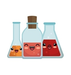 collection cute kawaii transparent flasks vector image