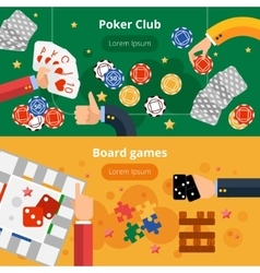 Gambling games flat banners set vector image