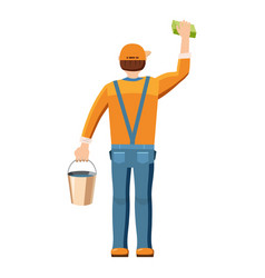 man cleaning with bucket and sponge back view icon vector image