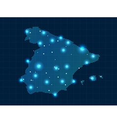 Pixel spain map with spot lights vector