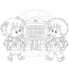 Schoolchildren going to school vector image vector image