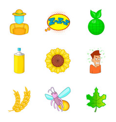 small insect icons set cartoon style vector image vector image