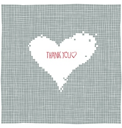 thank you heart shaped background vector image vector image