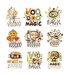 Voodoo african and american magic set for label vector