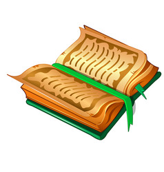 ancient book with parchment sheets and green cover vector image