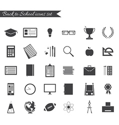 Back to school icons black and white vector