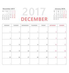 calendar planner 2017 december week starts monday vector image