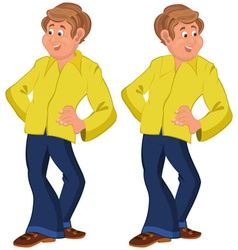 Happy cartoon man standing in yellow shirt vector image vector image