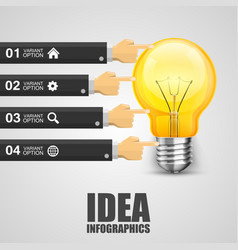 option hand pointing to the lamp vector image vector image