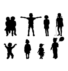Set of black silhouettes of children vector image vector image