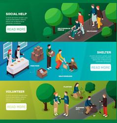 social help horizontal banners vector image vector image